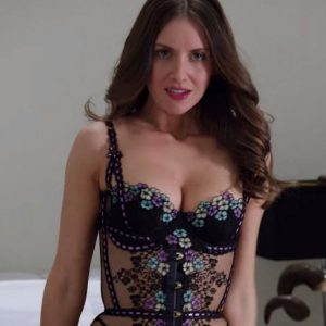Alison Brie Showing Off Cleavage In Tight Corset