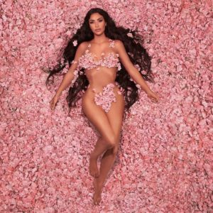 Kim Kardashian stripped down in cherry blossoms