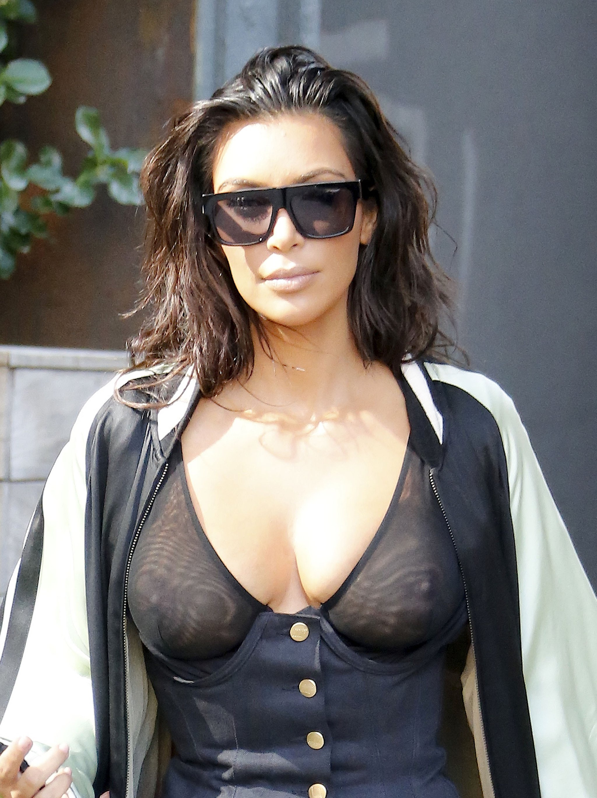 Kim Kardashian Nipples Exposed In See Through Top NYC (11)