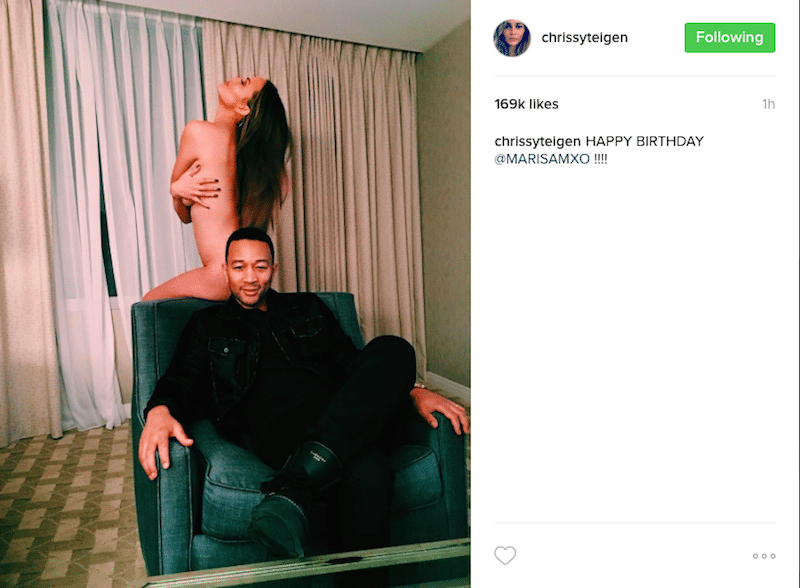 Chrissy Teigen poses nude for friend's bday on Instagram!