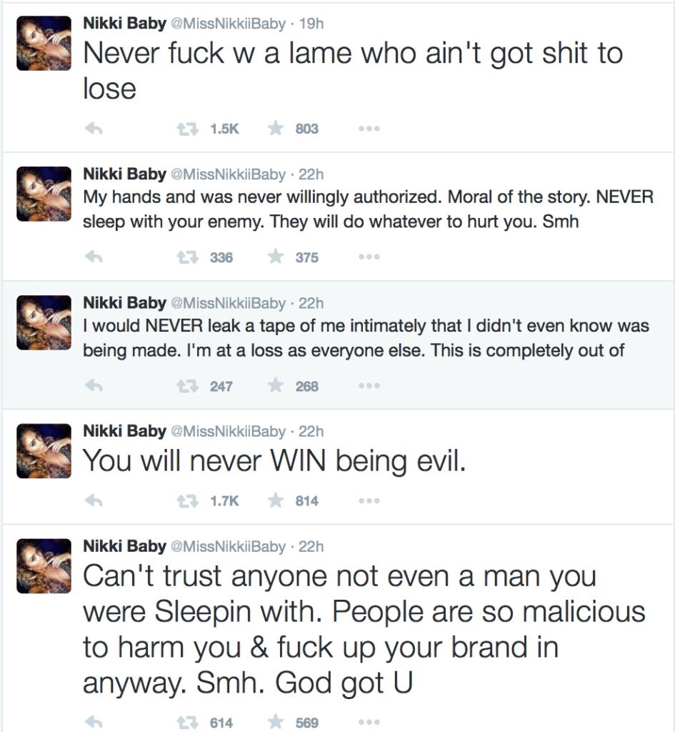 Nikki's Tweets About The Tape