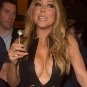 celebrity mariah carey big tits popping out of her dress