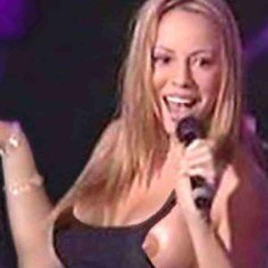 mariah carey has a nip slip on stage