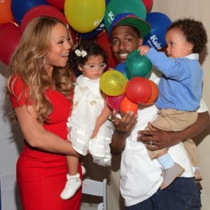 family portrait of mariah carey with nick cannon and their twins
