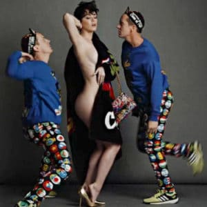 Smoke Show Katy Perry in black blanke with two guys