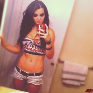 selfie pic of paige wwe in short shorts showing off her abs
