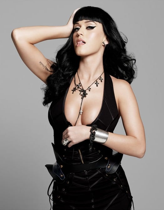 sexy katy perry in sexy black outfit sticking out her tongue