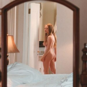 movie scene of amanda seyfried completely naked in the mirror showing off her tits and ass