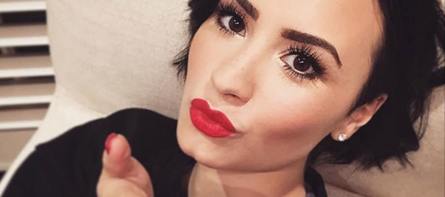 Demi Lovato making a kissy face