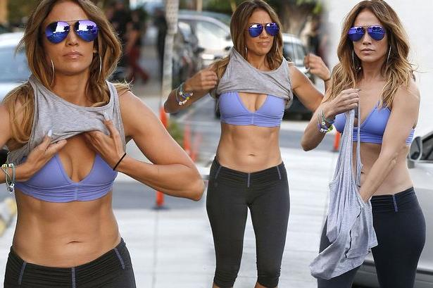J Low showing her stomach after the gym