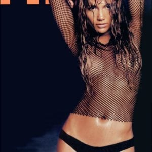 Jennifer Lopez for cover of FHM magazine showing tits in mesh shirt