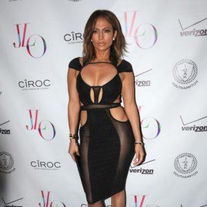 Jennifer Lopez in a cut out black dress for