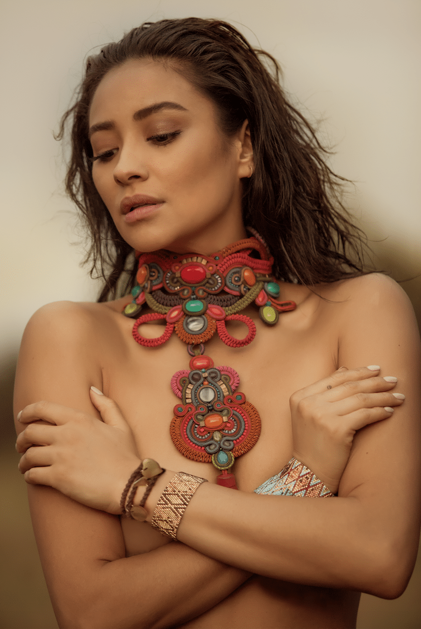 Shay Mitchell modeling topless